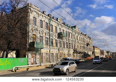 MOSCOW, RUSSIA - MARCH 14, 2016: Solyanka Street 7 Profitable House merchants Rastorgueva eclectic style landmark 1883