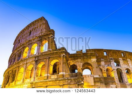 The Close Up View Of Colosseum In Rome, Italy