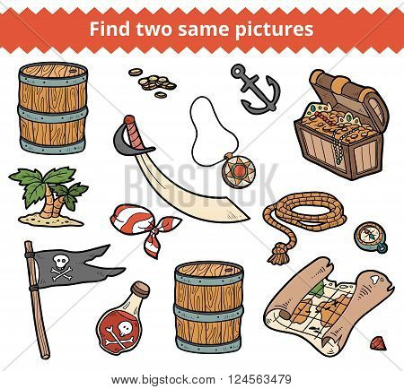 Find Two Same Pictures. Vector Set Of Pirate Items