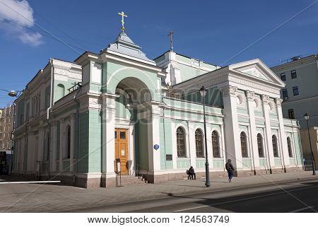 MOSCOW, RUSSIA - MARCH 21, 2016: Temple of the Trinity on Gryazeh at Pokrovsky Gates street Pokrovka 13 19 century landmark