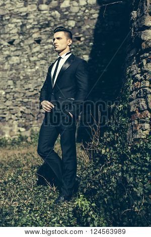Elegant Man Poses Outdoor