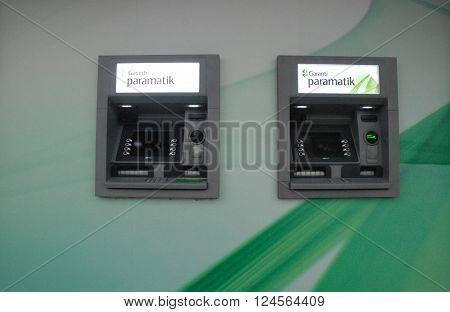 ANKARA/TURKEY-MARCH 26, 2016: Garantibank's NCR Paramatik ATM (Automatic Teller Machine) at the TBMM Branch. March 26, 2016-Ankara/Turkey