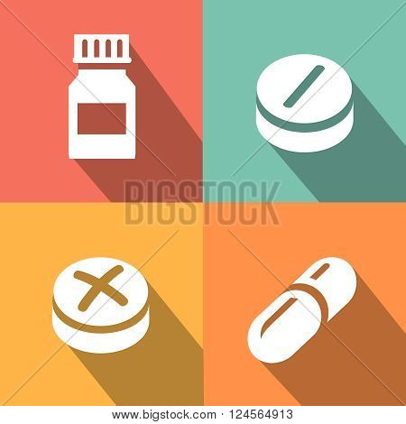 Medicine vector icon pills or tablets, capsules flat style.