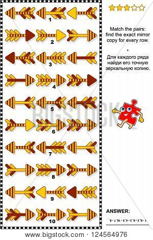 Visual logic puzzle: Match the pairs - find the exact mirrored copy for every row of arrows. Plus same task text in Russian. Answer included.