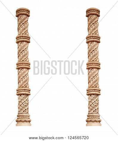 two greek classic column isolated on white background.