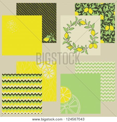 Set of seamless backgrounds and covers in retro style. Hand-painted design in lemon tones.