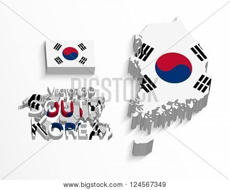 South Korea 3D ( Republic of South Korea ) ( flag and map ) ( transportation and tourism concept )