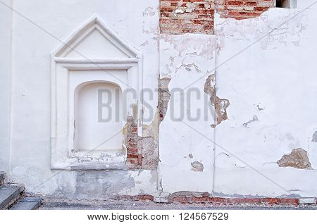 Architectural elements of the ancient church wall in Veliky Novgorod Russia