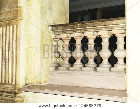 Balustrade Pillars inside the building close up photo