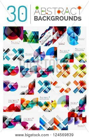 Collection of various multipurpose modern abstract backgrounds, geometric style