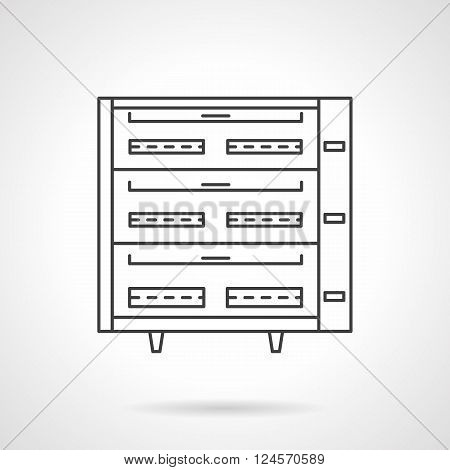 Ovens and stoves. Kitchen appliances. Equipment for bakery. Flat line style vector icon. Single design element for website, business.