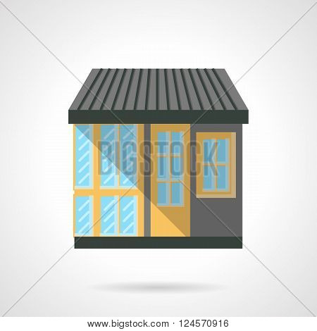Colorful facade of shop for appliances. Storefronts and showcases. Commercial city architecture. Flat color style vector icon. Web design element for site, mobile and business.