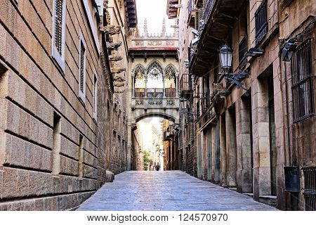 Ornate Covered Bridge In The Gothic Quarter Of Old Barcelona, Spain
