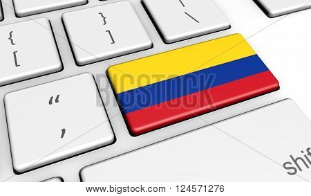 Colombia digitalization and use of digital technologies concept with the Colombian flag on a computer keyboard 3D illustration.