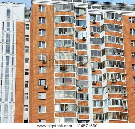 MOSCOW, RUSSIA - SEPTEMBER 01: Light of early autumnal morning is illuminating the front of residential multi-storey building on Chongarskiy Blvd., 15 on September 01, 2015 in Moscow, Russia.