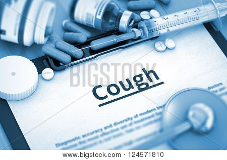 Cough, Medical Concept with Pills, Injections and Syringe. Cough - Medical Report with Composition of Medicaments - Pills, Injections and Syringe. 3D Render. Toned Image.