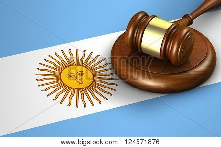 Argentina law legal system and justice concept with a 3D rendering of a gavel and the Argentine flag on background.