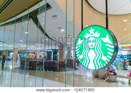 KHONKAEN, THAILAND - March 10, 2016: Starbucks Coffee. Starbucks is the largest coffeehouse company in the world, with 20,891 stores in 62 countries.