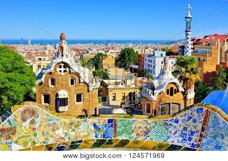 BARCELONA - JUN 4: View of Antoni Gaudi's artistic Park Guell on June 4, 2015 in Barcelona, Spain. This modernistic park was built between 1900 and 1914 and is a popular tourist attraction.