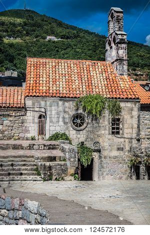 Ancient church in Montenegro. Church of Holy Virgin Mary in center of old town Budva, Montenegro.