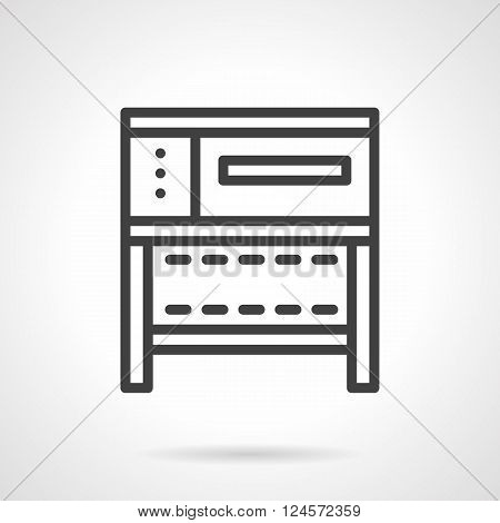 A front view of a stove or oven for bakery. Commercial and household kitchen appliances. Simple black line vector icon. Single element for web design, mobile app.