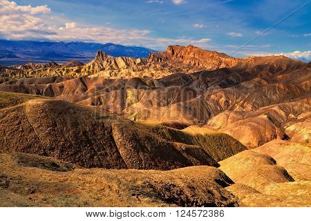 Beautiful Glow Over Zabriskie Point At Dusk, Death Valley National Park, California