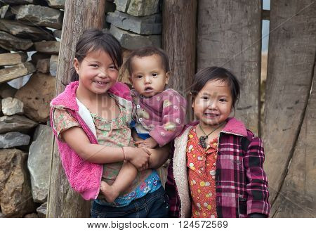 SAPA, VIETNAM, January 23, 2016: Hmong group of children, highland Sa Pa, another friendly