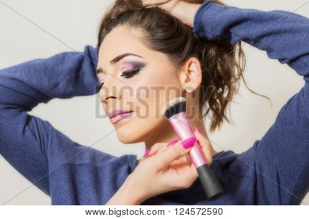 Makeup Applying closeup. Cosmetic Powder Brush. Perfect Skin