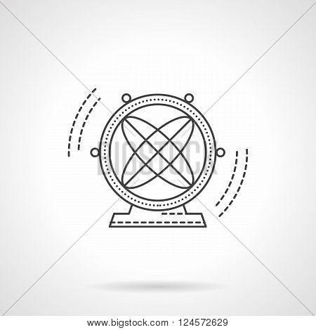 Magnetic model of atoms. Scientific souvenirs. Magnetic atom pendulum. Physics symbol. Flat line style vector icon. Single design element for website, business.