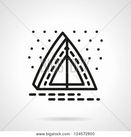Abstract camping tent. Overnight camp. Campsite and starry sky. Outdoors rest and leisure. Simple black line vector icon. Single element for web design, mobile app.