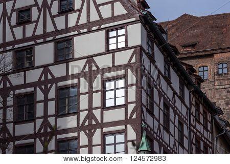 old half timbered building facade; nuremberg germany