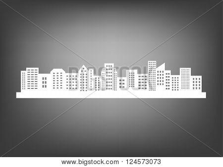 Big city skyline, white silhouette vector icon