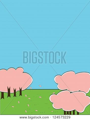 Cherry blossom blooming and drop down by the wind with green grass with copy space on the ground and blue sky in japanese color paint style