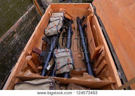 Launchers with ammo in army storage case.Top view