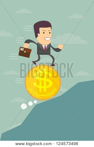 Business man running on a coin with the dollar symbol is optimistic ahead, vector illustration
