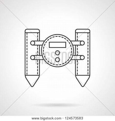 Military robotic units. Unmanned catamaran with camera. Surveillance and defense remote controlled vehicles. Flat line style vector icon. Single design element for website, business.