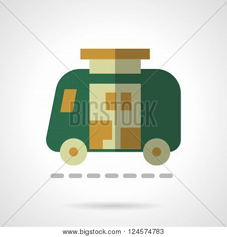 Green automobile with living quarter in a van. Camper car. Travel car.  Flat color style vector icon. Web design element for site, mobile and business.