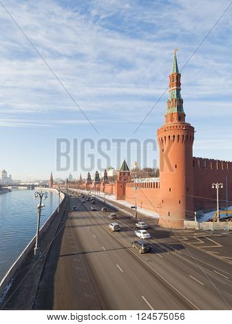Moscow - November 29 2015: View of the Kremlin and Moscow river and Kremlin embankment November 29 Moscow Russia