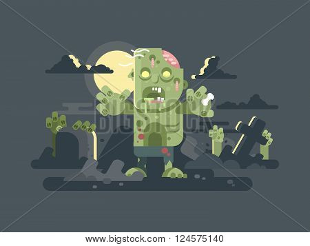 Zombies in cemetery night. Halloween horror, grave scary, fear and spooky, cross and tombstone. Vector illustration