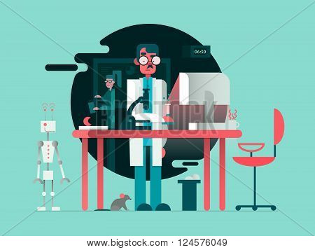 Scientist in lab room. Science research, education medical laboratory, vector illustration