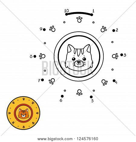 Numbers Game For Children. A Plate With A Cute Cat