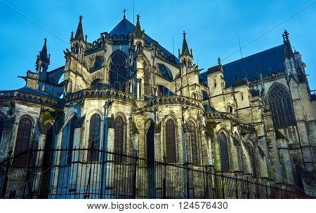 Gothic Saint-Pierre-et-Saint-Paul Cathedral in Troyes at night France