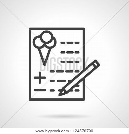 Checklist with abstract text and balloons symbol. Party and celebrations checkout. Festive agency services. Simple black line vector icon. Single element for web design, mobile app.