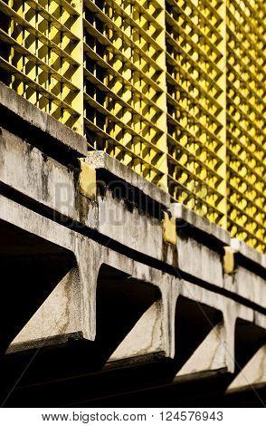 Close up of concrete bridge