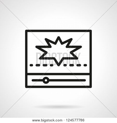 Abstract video player with star on screen. Popular video for video blog, social networks. Simple black line vector icon. Single element for web design, mobile app.
