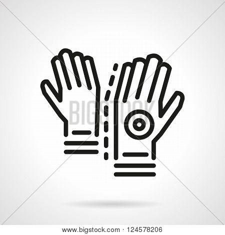 A pair of gloves for longboarding and skateboarding. Sport safety accessories. Activity lifestyle. Simple black line vector icon. Single element for web design, mobile app.