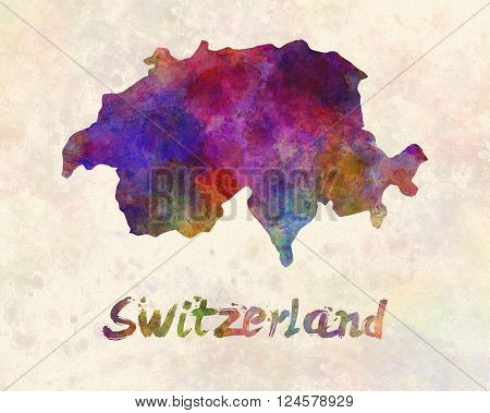 Switzerland in artistic abstract warm watercolor background