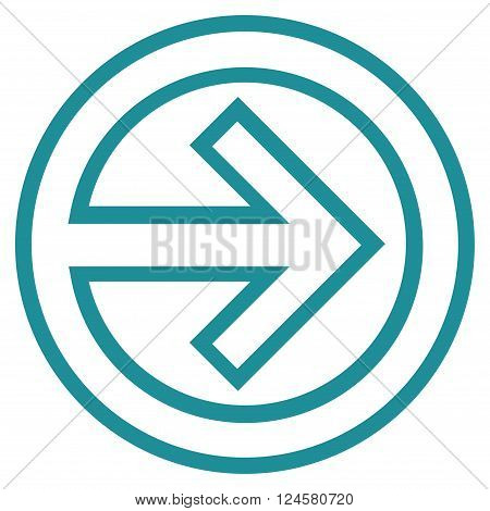 Import vector icon. Style is thin line icon symbol, soft blue color, white background.