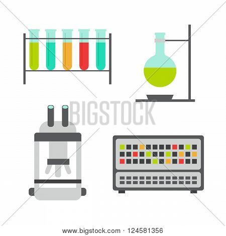 Biology flat icons. Biology laboratory workspace and science equipment vector