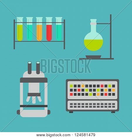 Biology flat icons. Biology laboratory workspace and science equipment